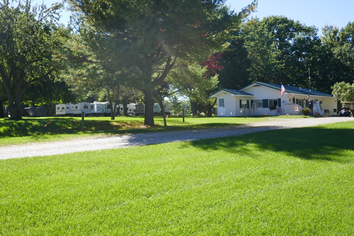 photo of office with campsites in the background