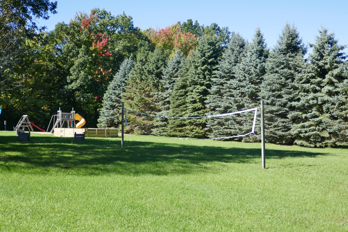 volleyball net in field with playground in the background