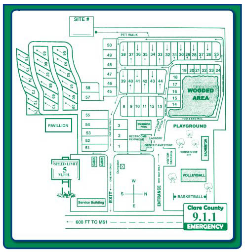 campground map of countryside campground and cabins