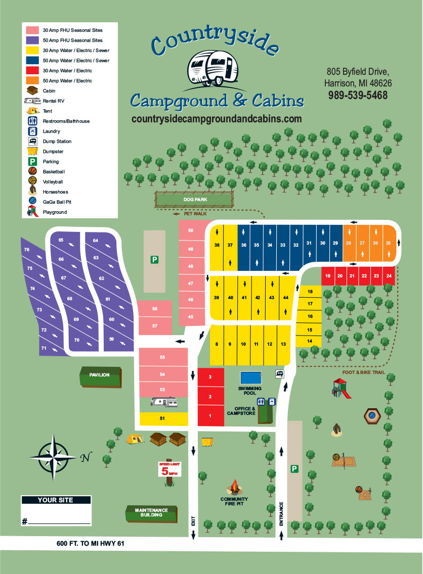 Campground Map for Countryside Campground and Cabins | Countryside