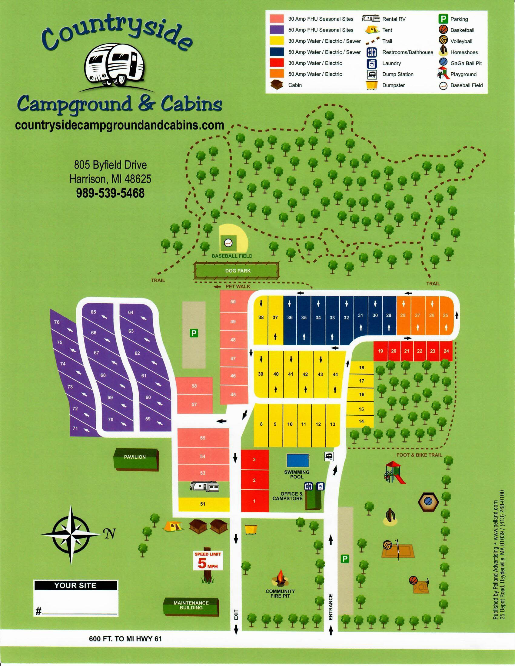 campground map for countryside campground and cabins